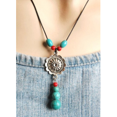 Collier Pendentif Flower Perles Turquoise Country Western