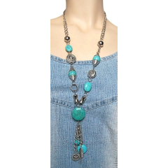 Collier Turquoise Long Hexagone Country Western