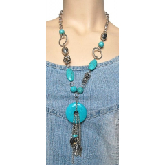 Collier Long Turquoise Rondelle Country Western