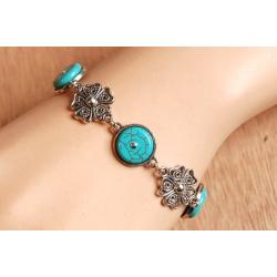 Bracelet Medaillon Turquoise Howlite Flower Country Western