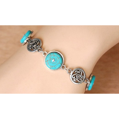 Bracelet Medaillon Turquoise Howlite Rond Country Western