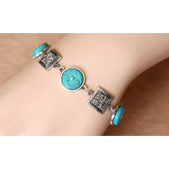 Bracelet Medaillon Turquoise Howlite Carré Country Western