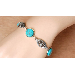 Bracelet Medaillon Turquoise Howlite Ovale Country Western