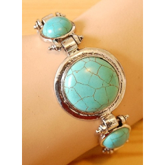 Bracelet Turquoise Howlite 3 Pierres Rondes Country Western