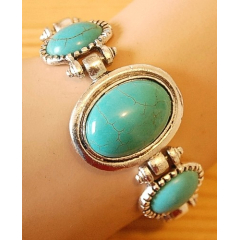 Bracelet Turquoise Howlite 3 Pierres Ovales Country Western