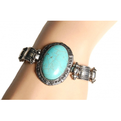 Bracelet Turquoise Howlite Ovale Country Western