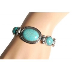 Bracelet Turquoise Howlite Trio Ovale Country Western