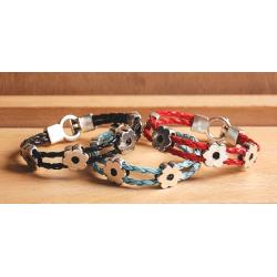 Bracelet métal et cuir Fleur - Country Western